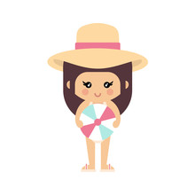 Cartoon Summer Girl In A Swimsuit And Hat With Summer Ball