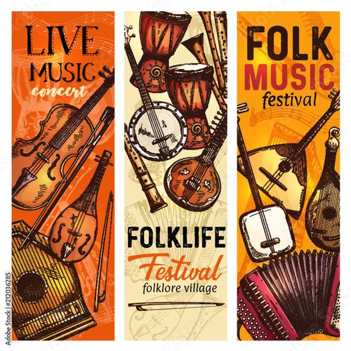 Fototapety Muzyka musical-instrument-banner-of-folk-music-festival