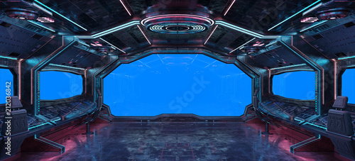 Grunge Spaceship interior background 3D rendering