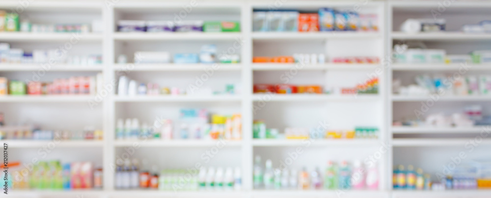 Fototapety, obrazy: Pharmacy drugstore blur abstract backbround with medicine and healthcare product on shelves