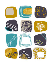 Abstract Retro Background, Teal, Yellow And Gold Elements, Vector Illustration