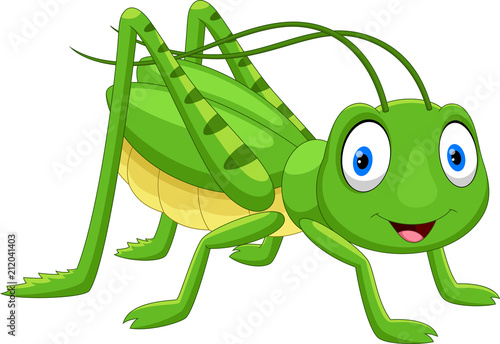 Cute grasshopper cartoon isolated on white background Canvas Print