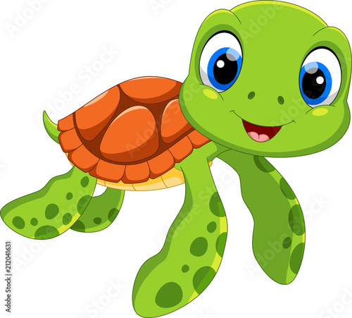 Obraz na plátně Cute sea turtle cartoon isolated on white background