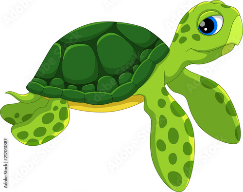 Fototapeta Cute sea turtle cartoon isolated on white background