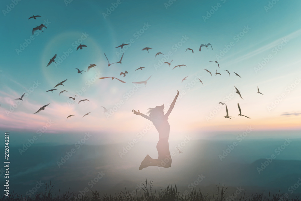 Fototapeta Happy woman rise hand on morning view. Christian inspire praise God on good friday background. Now one man self confidence on peak open arms enjoying nature the sun concept world wisdom fun hope.