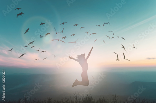 Fotografie, Obraz  Happy woman rise hand on morning view