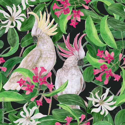 Photo Watercolor painting seamless pattern with white cockatoo birds and tropical flow