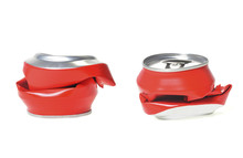 Two Red Aluminum Can Flattened