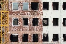 House Facade At A Construction Site, Demolition Of The Administration Building Of The Former Main Post Office, Nuremberg, Middle Franconia, Bavaria, Germany, Europe