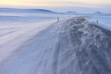 Snow Drifts On The Ring Road A 1, Near Grimsstadir, Northern Island, Island
