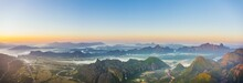 Panorama Of Karst Mountains With Mist At Sunrise, Vang Vieng, Vientiane Province, Laos, Asia