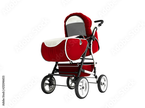 Modern red baby carriage for any weather with white inserts 3d render on white b Poster