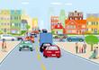 Stadt mit Straßenverkehr illustration