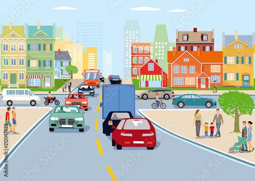 Stadt mit Straßenverkehr illustration Fotobehang
