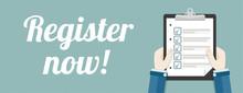Hand Clipboard Checklist Register Now Header