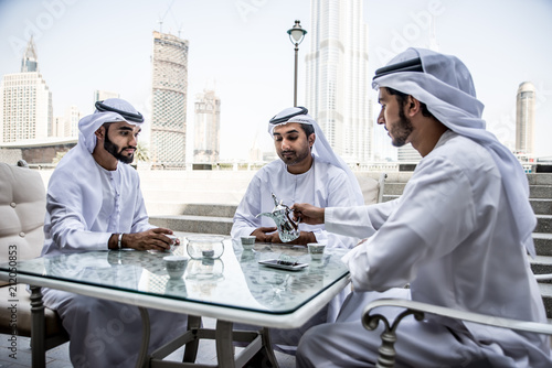 arabic business men spending time in Dubai Canvas Print