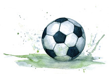 Isolated Watercolour Illustration Of Realistic Black And White Soccer Ball With Green Splash
