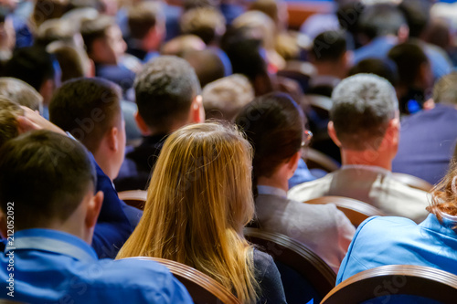 Obraz People attend business conference in the congress hall - fototapety do salonu