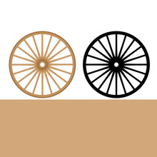Wheel Carriage  Vector Illustration Flat Style Front Side