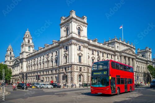 street view of london with double decker bus