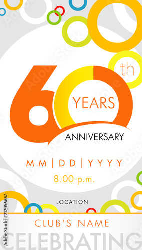 Fototapeta 60 Years Anniversary Invitation Card Celebration Template Concept 60th Years Anniversary Modern Design Elements With Background Colored