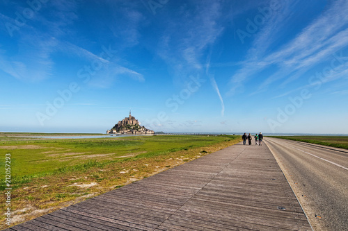 Road to amazing Mont Saint Michel abbey Poster