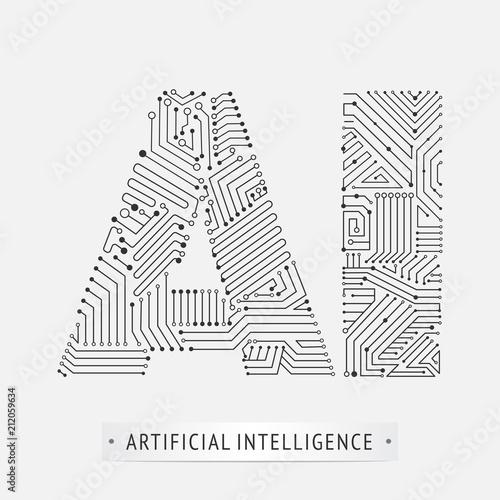 Fotografie, Obraz  artificial intelligence icon design.