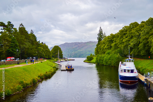 Fotografie, Obraz  Caledonian Canal in Fort Augustus, in the Highlands (Scotland, United Kingdom)