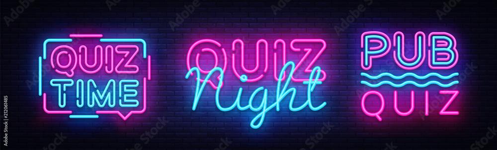 Fototapeta Quiz night collection announcement poster vector design template. Quiz night neon signboard, light banner. Pub quiz held in pub, bar, night club. Pub team game. Questions game retro light sign Vector