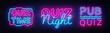Quiz night collection announcement poster vector design template. Quiz night neon signboard, light banner. Pub quiz held in pub, bar, night club. Pub team game. Questions game retro light sign Vector