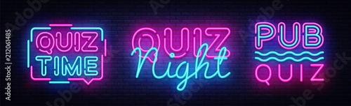Fototapeta Quiz night collection announcement poster vector design template. Quiz night neon signboard, light banner. Pub quiz held in pub, bar, night club. Pub team game. Questions game retro light sign Vector obraz