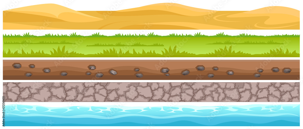 Fototapeta Seamless Grounds and Land Suface Flat Vector Set