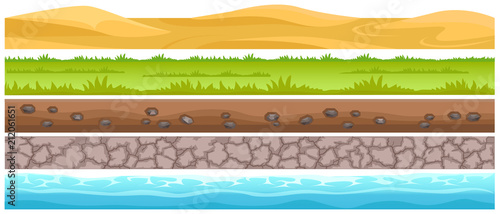 Seamless Grounds and Land Suface Flat Vector Set Fototapeta