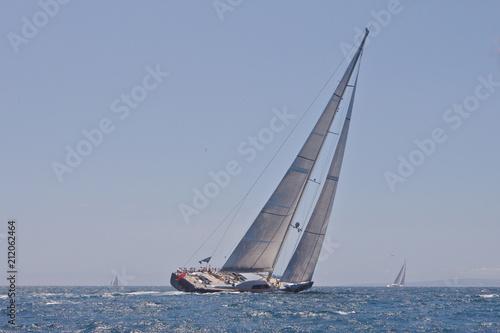 Garden Poster Sailing Sailing. At sea. Superyacht. Sailboat