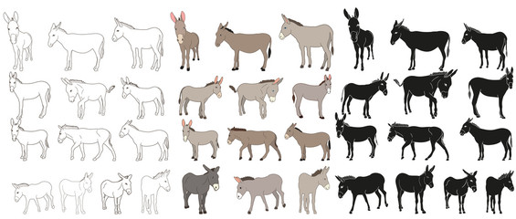 vektor izolirani magarac, mazga, obris, kolekcija silueta