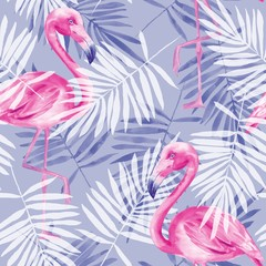 Seamless tropical pattern with flamingos. Watercolor illustration 4