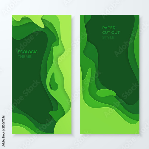 Set Of Vector Banners With Abstract Green Waves In The 3d Paper Cut Style Modern