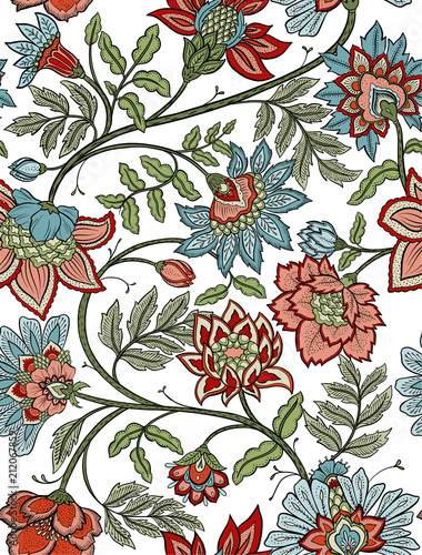 Fotografie, Obraz  Seamless mandala and paisley floral pattern - red and blue