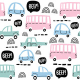 Seamless pattern with cute cars - 212068473