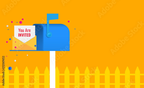 "Fotografie, Obraz  ""you are invited"" on mailbox home depot with open space for your text"