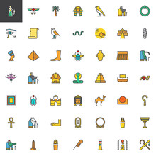 Egypt Elements Filled Outline Icons Set, Line Vector Symbol Collection, Linear Colorful Pictogram Pack. Signs, Logo Illustration, Set Includes Icons As Hieroglyph, Pharaoh, Papyrus, Pyramid, Nefertiti