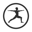 Vector illustration of a young man doing yoga practice. Black male silhouette in a warrior position with a circle frame isolated on white background. Icon, logo, label, banner, print, card design.