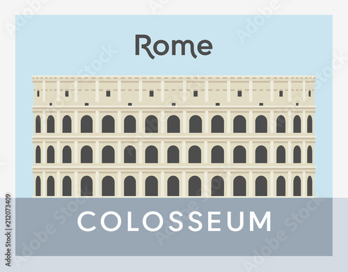 Colosseum flat style vector illustration Wallpaper Mural