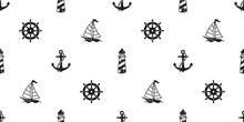 Anchor Seamless Pattern Boat Vector Helm Lighthouse Maritime Nautical Tropical Summer Isolated Tile Background Repeat Wallpaper
