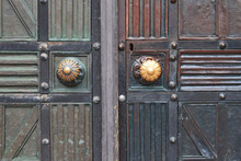 Old Brown Wooden Doors With Fo...