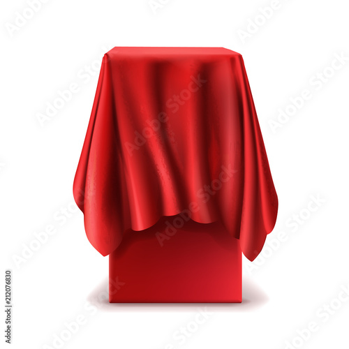 Fotografía Vector realistic stand covered with red silk cloth isolated on white background