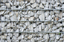Detail Of Gabion Grid Basket With Gray L Stones