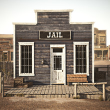 Rustic Western Town Jail. 3d R...