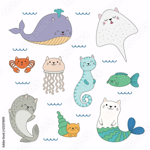 Printed kitchen splashbacks Illustrations Hand drawn vector illustration of a kawaii funny sea animals with cat ears, swimming in the sea. Isolated objects on white background. Line drawing. Design concept for children print.