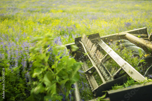 the harvesting machine mechanism cuts alfalfa - close-up, blurry in motion, focu Canvas Print